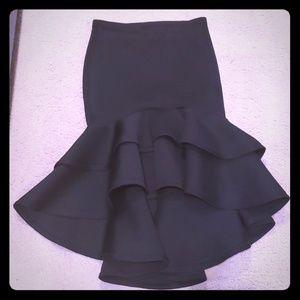 Womens fitted ruffle skirt